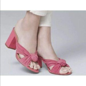 WHBM Pink Strappy Knot Block Heel Sandal Size 6M